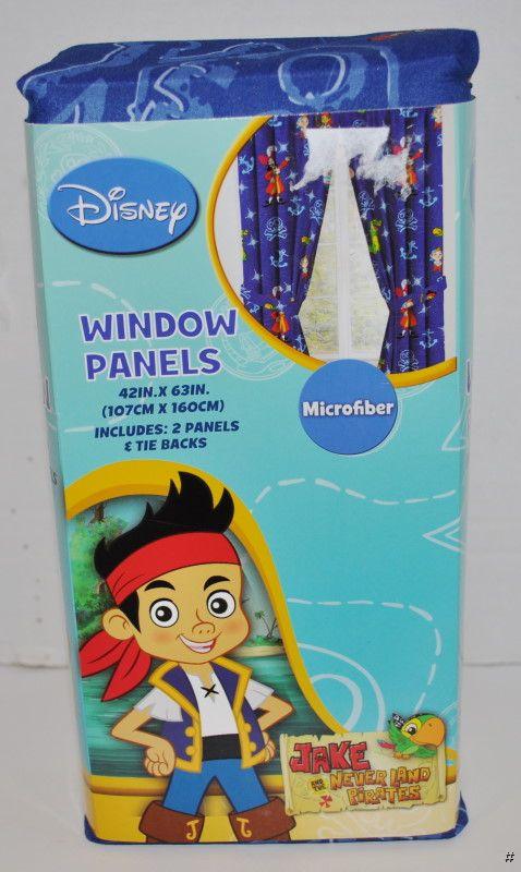 New Disney Jake The Neverland Pirates Window Curtains 2 Panels 2 Tie Backs Ebay