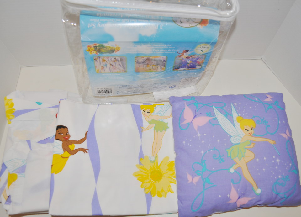 NEW DISNEY TINKERBELL FAIRIES 7pc TODDLER BEDDING SET QUILT SHEETS VALANCE COT