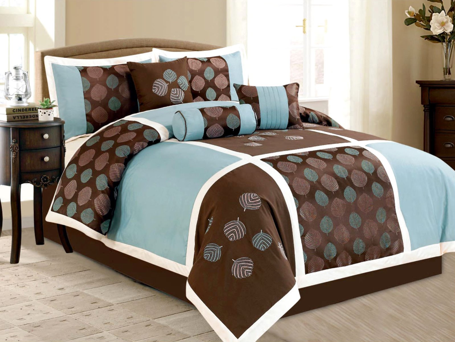 Jaba USA 7-Piece Embroidery Floral Leaf Comforter Set Queen Bed-In-A-Bag Brown, Blue, Pink at Sears.com