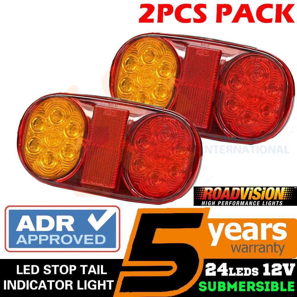 PAIR LED TAIL STOP BRAKE LIGHTS WATERPROOF BOAT TRAILER CARAVAN BAR E205 12V