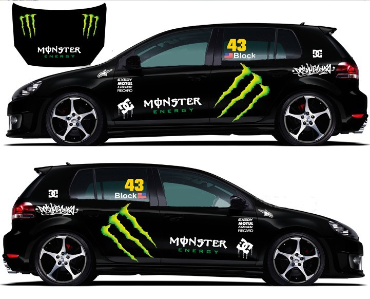 refective full car body decals racing monster energy car. Black Bedroom Furniture Sets. Home Design Ideas