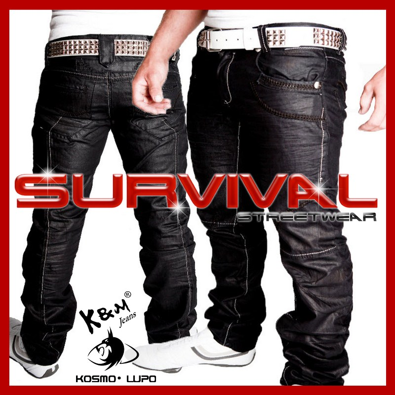 NEW-MENS-KOSMO-LUPO-DESIGNER-BLACK-JEANS-K-M-SZ-30