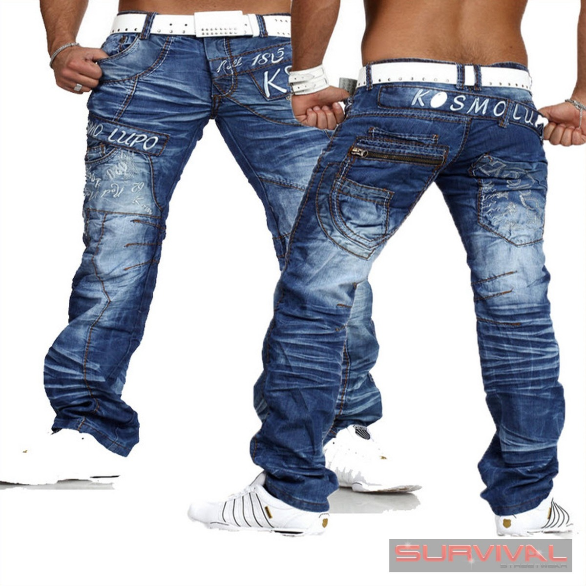 new mens kosmo lupo jeans sz 30 32 34 36 38 italian. Black Bedroom Furniture Sets. Home Design Ideas