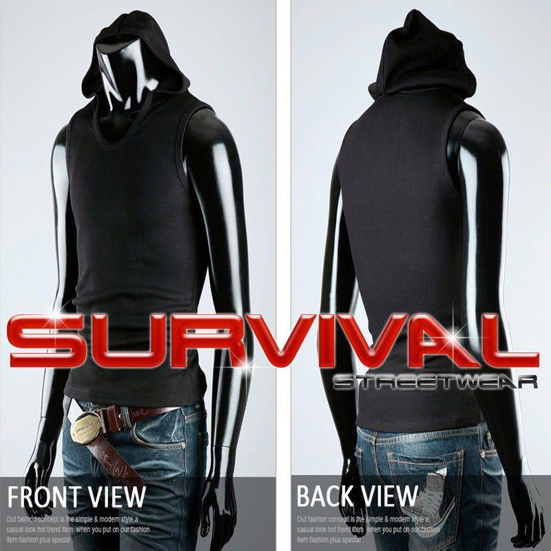 NEW Mens Singlet Tank TOP Sleeveless Hoodie Shirt Black Blue Grey SZ M