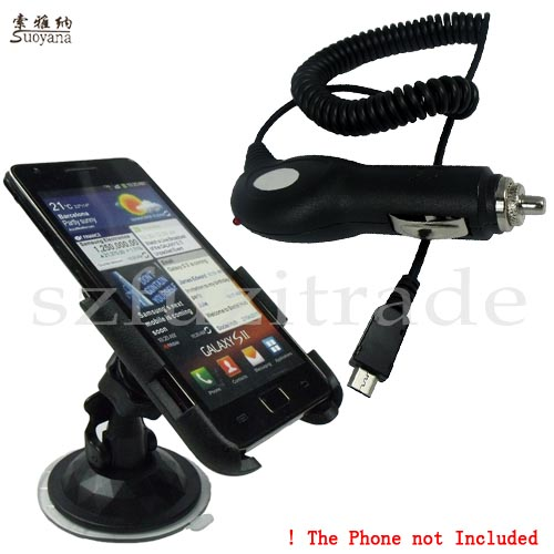 Soft-Car-Hoder-Mount-Stand-Cradle-Charger-For-Samsung-i9100-Galaxy-S-II-2-S2-SII