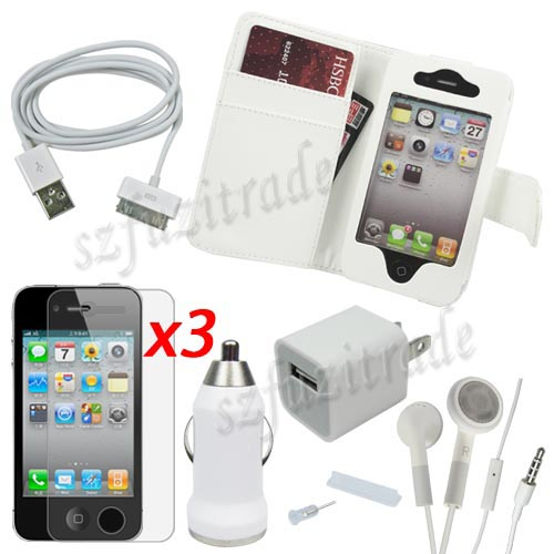 9-Accessory-Bundle-Leather-Case-Car-Charger-USB-Cable-Headset-Film-for-iPhone-4S