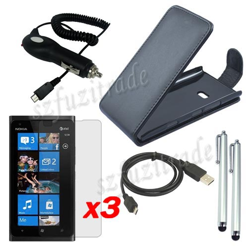 Leather-Case-USB-Data-Cable-Car-Charger-LCD-Film-Stylus-Pen-for-Nokia-Lumia-900