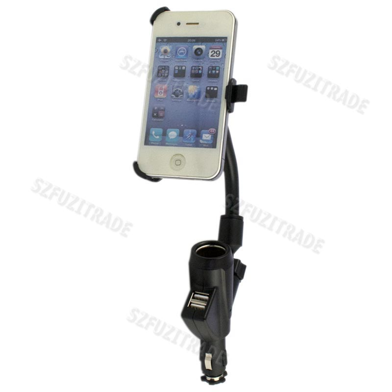 Car-Cigarette-Lighter-Dual-USB-Ports-Charger-Mount-Holder-Stand-For-iphone-4-4TH