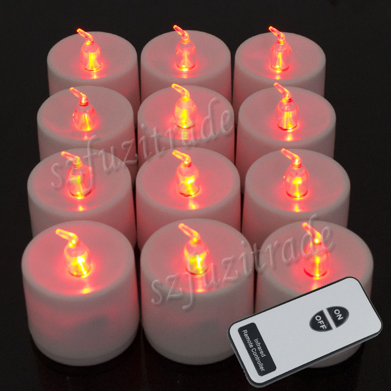 remote control 12x led candles red electronic tea lights flameless. Black Bedroom Furniture Sets. Home Design Ideas