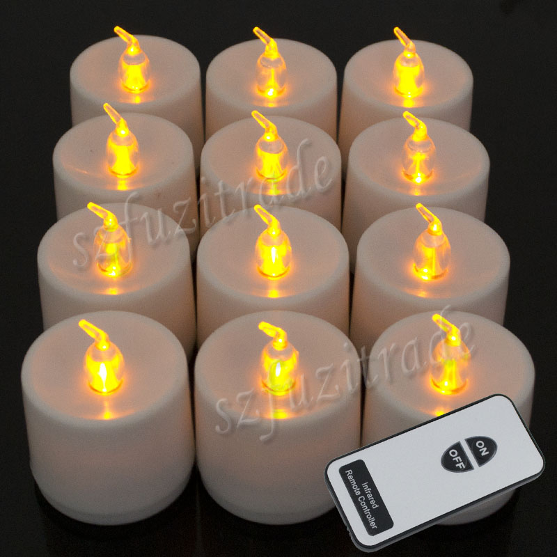 remote control 12x led candles yellow electronic tea lights flameless. Black Bedroom Furniture Sets. Home Design Ideas