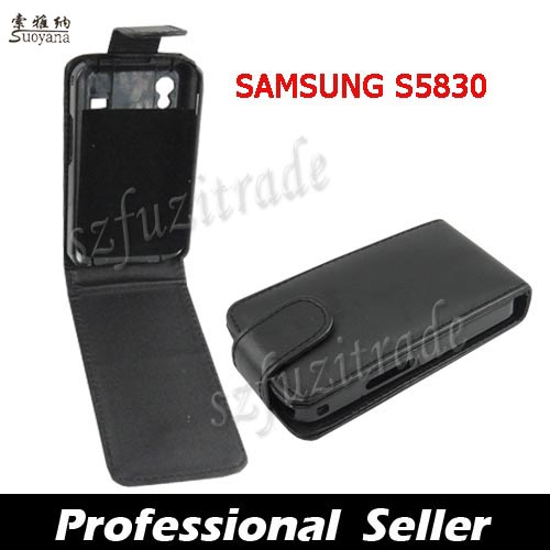 OZ-Black-Flip-PU-Leather-Case-Hard-Cover-Pouch-Skin-For-Samsung-Galaxy-Ace-S5830
