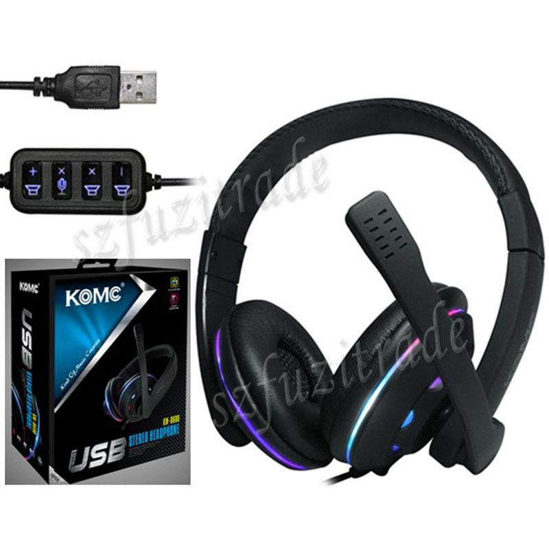 KM-8600 Cool USB Stereo Earphone Headset Headphone ...