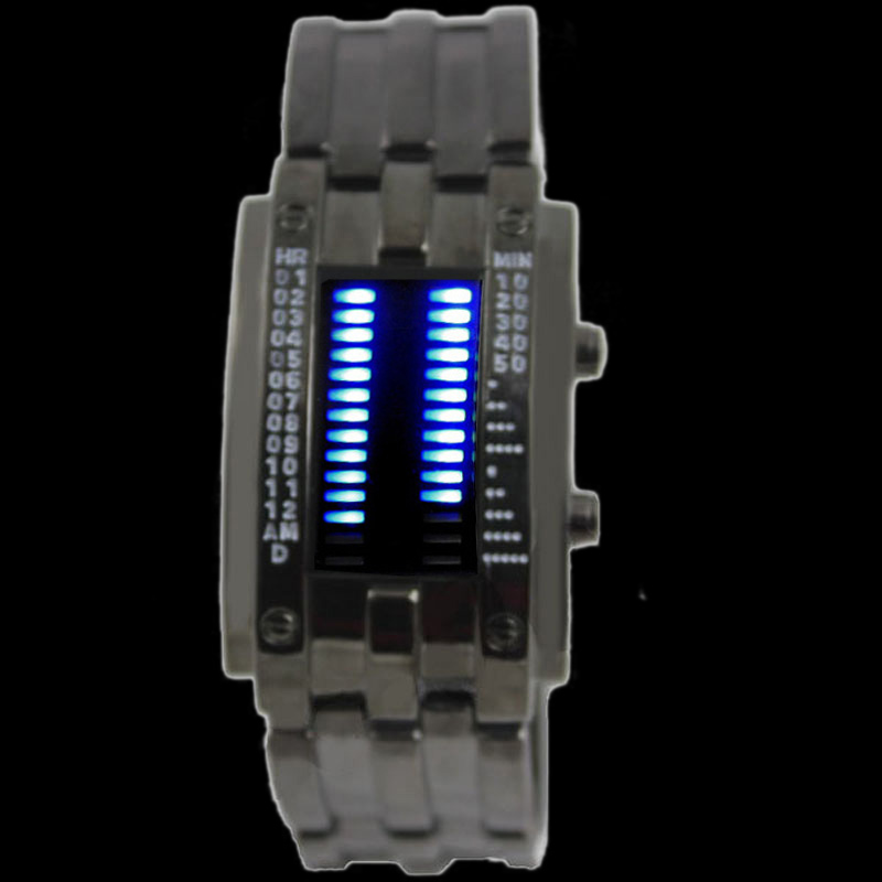 Rare-Stainless-BLUE-LED-Mens-Sports-Military-Watch-Brand-New