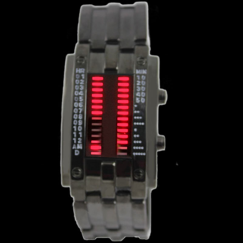 Fashion-Stainless-RED-LED-Mens-Sports-Military-WatchGift-NEW