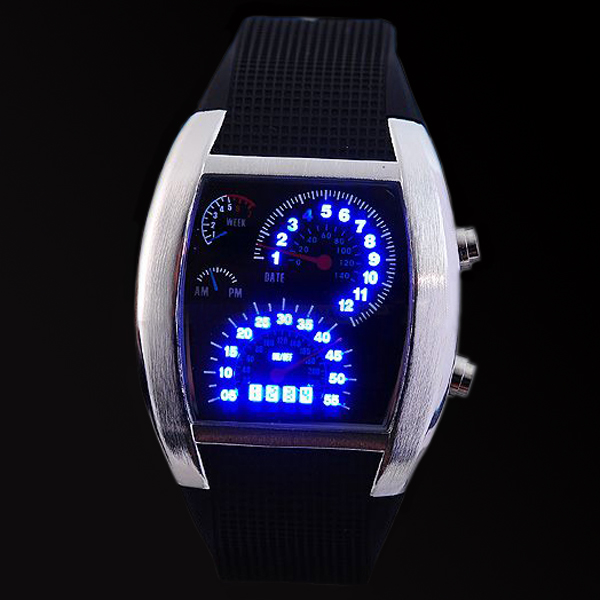 Cool-Binary-Blue-LED-Dot-Matrix-Mens-Women-Lady-Watch-Gift-New