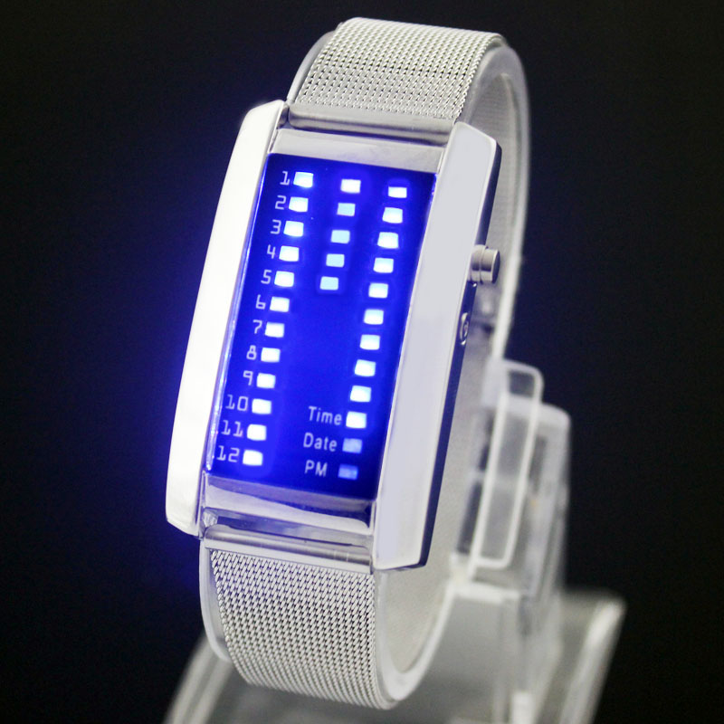 Trendy-Mens-Lady-Silver-Band-Blue-LED-Digital-Sport-Watch