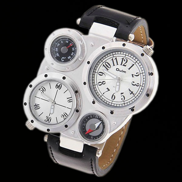 Trendy-Dual-Dials-Quartz-Mens-Army-Style-Watch-Wristwatch-White-New