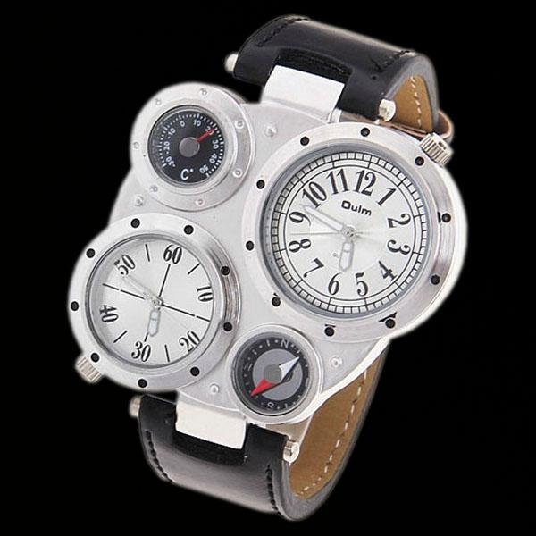 Trendy-Dual-Dials-Quartz-Mens-Army-Style-Watch-Wristwatch-White-New