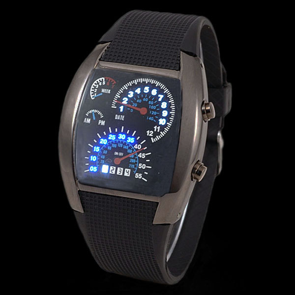 Cool-Binary-Blue-White-LED-Dot-Matrix-Mens-Lady-Sport-Wrist-Watch-Gift-New