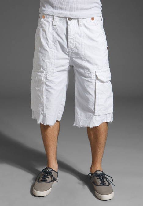 True Religion Men's Isaac Twill Cargo Short in Optic White ...