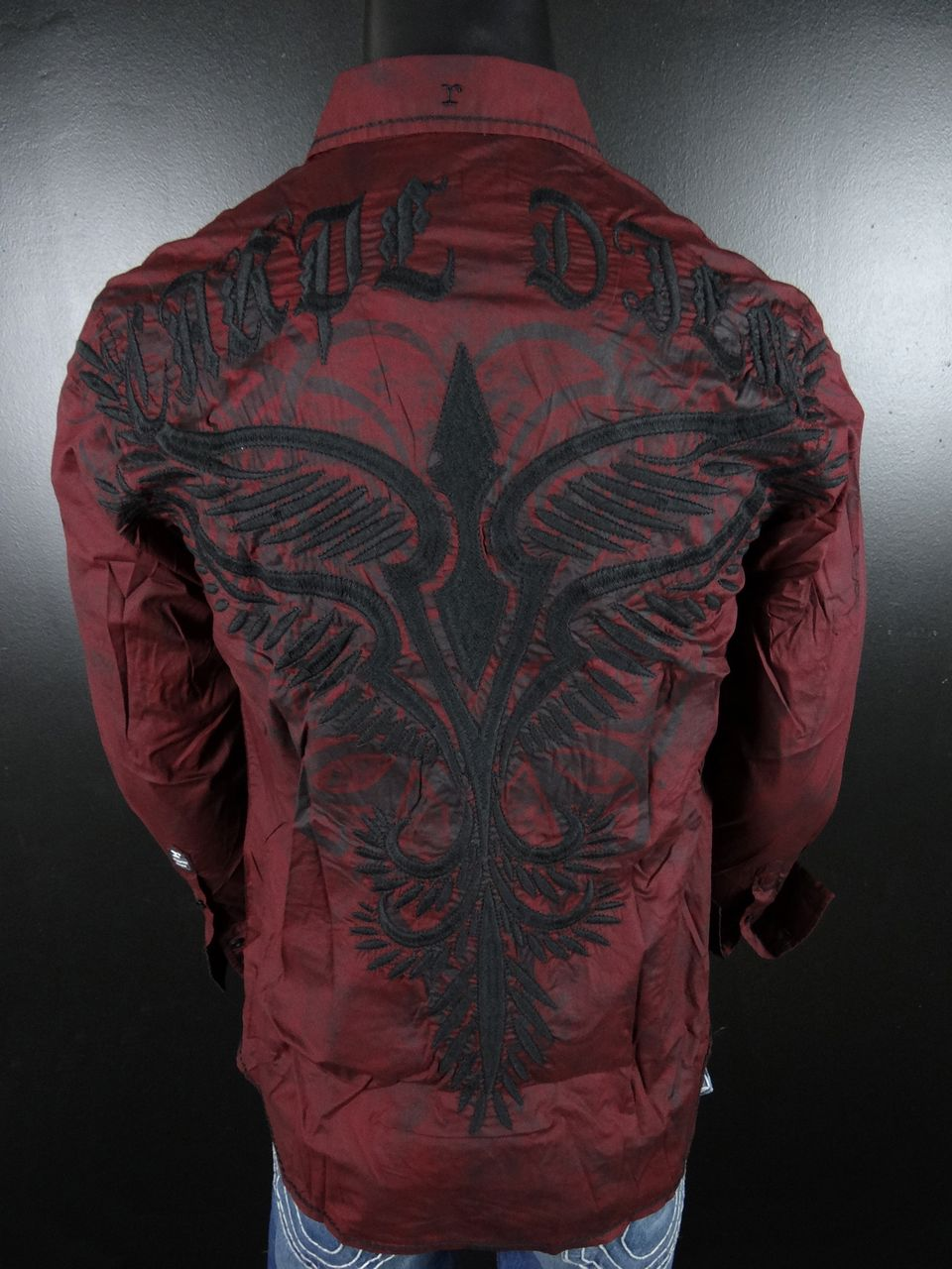 NWT-ROAR-WOVEN-Button-shirt-called-IN-THE-NOW-Blood-Red-with-TRIBALS