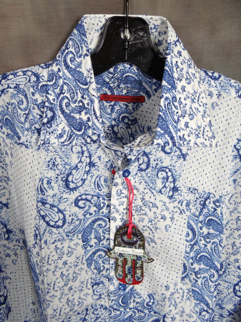 Mens luchiano visconti sports shirt blue paisley button up for Big and tall button up shirts