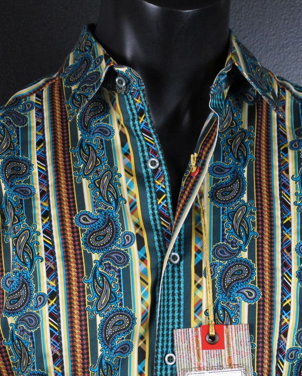 NWT-Mens-Button-up-Woven-Robert-Graham-FONTAIN-Sport-Shirt-in-MULTI