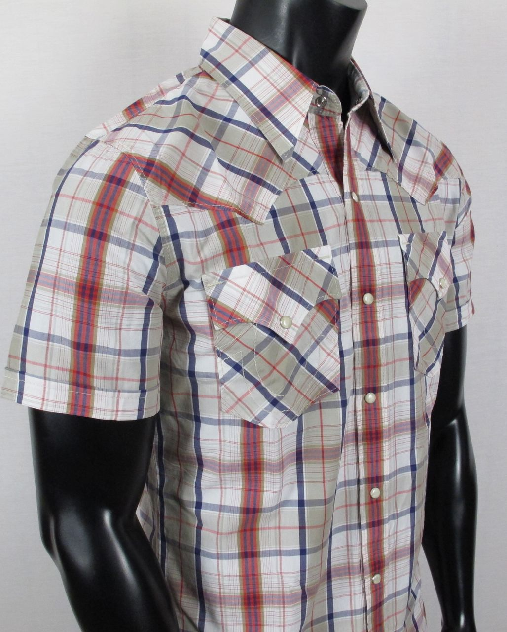 NWT-Mens-TRUE-RELIGION-Woven-Button-up-Shirt-MICK-PLAID-in-CHALK-Short-Sleeve