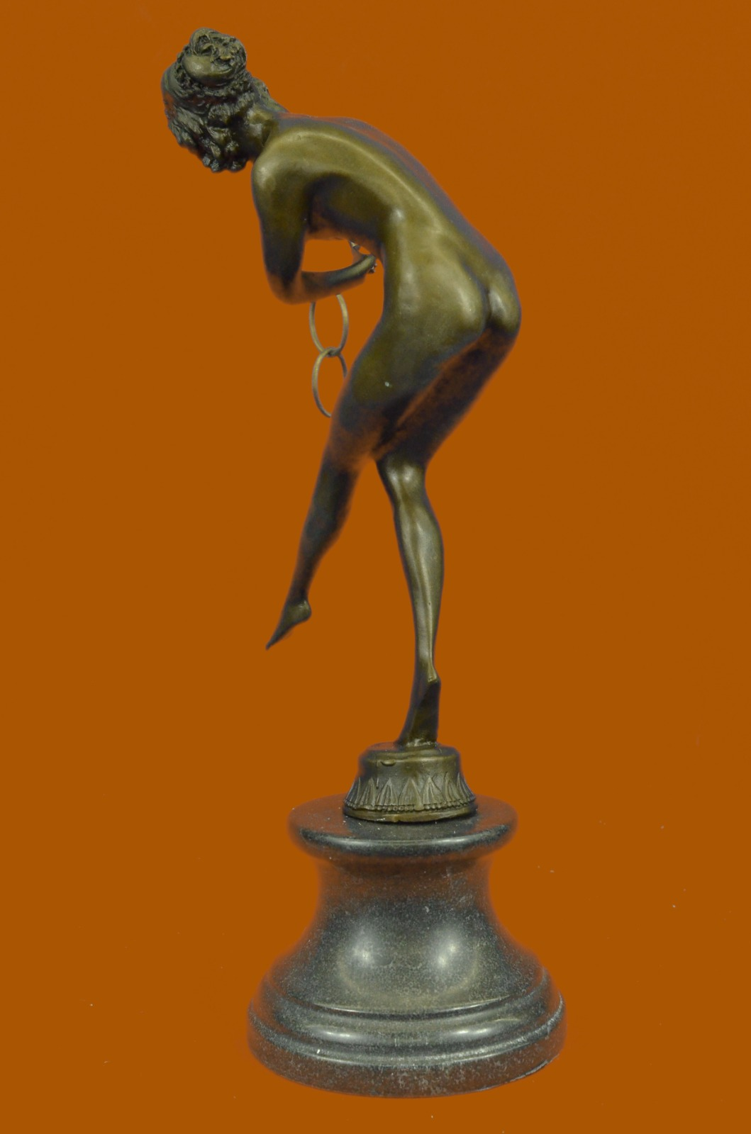 Art-Deco-Girl-With-Ring-Loops-Cl-Jr-Colinet-HG-statue-sculpture-bronze-figurines