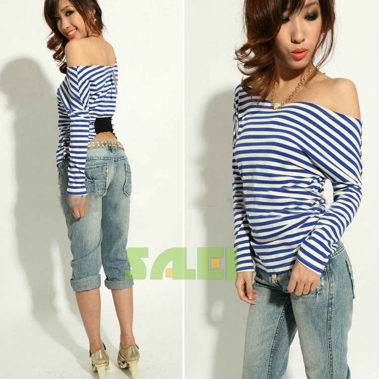 Laconic-Style-Stripes-Patterns-Off-the-Shoulder-Long-Sleeve-T-Shirt-For-Women