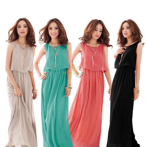 S5Q Women's Bohemian Pleated Cocktail Evening Princess Chiffon Maxi Long Dress