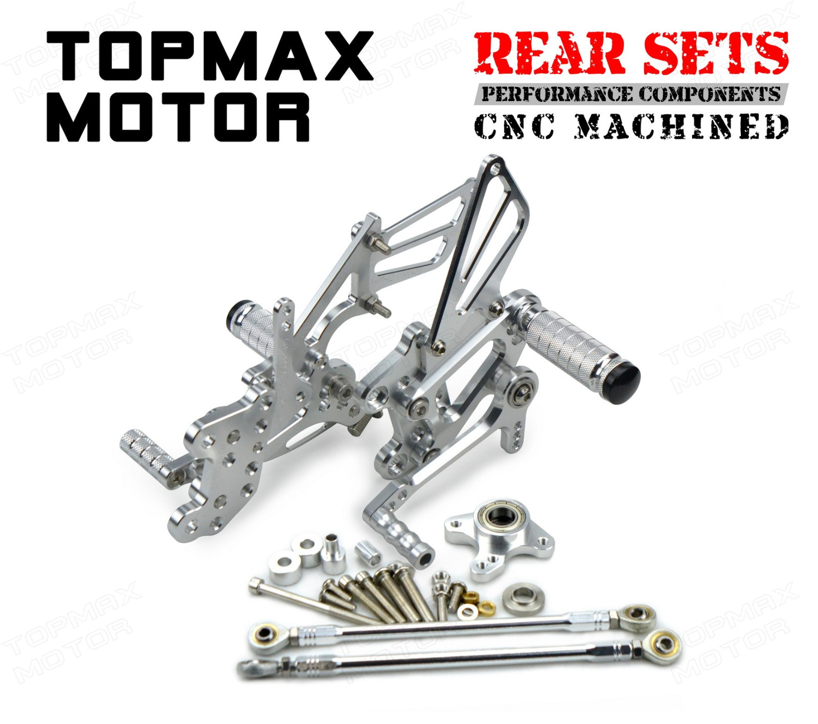 silver cnc rearset foot control rear sets for 2003