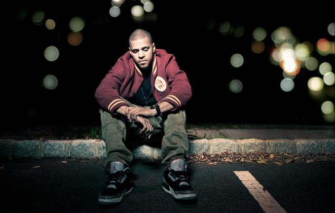 J. Cole wearing Air Jordan I 1 Retro High OG Black Grey