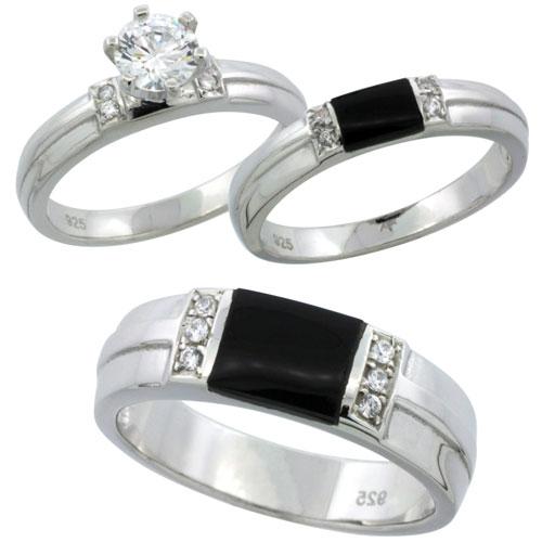 Sterling Silver 1 25ct Simulated Diamond Trio Wedding Band Ring Set w Black O