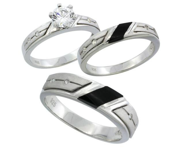 Sterling Silver 1 10ct Simulated Diamond Trio Wedding Ring Set with Black y