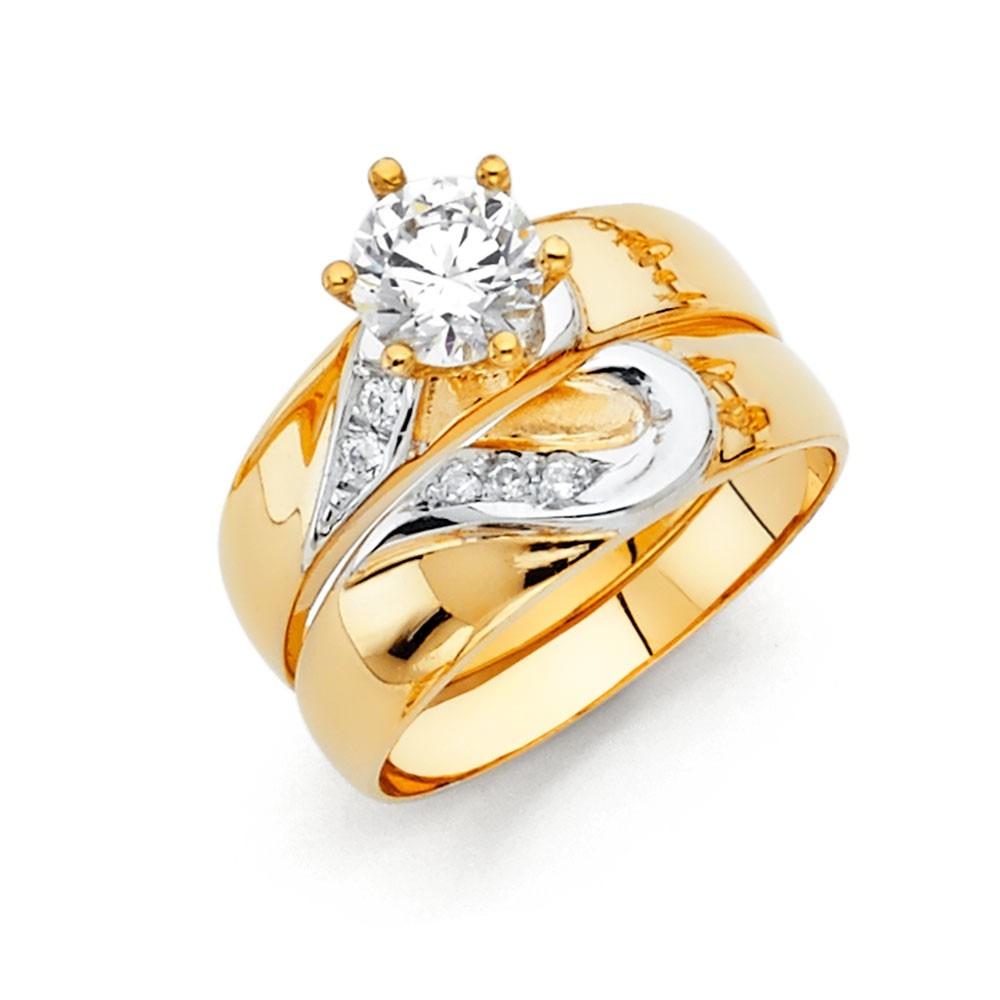 14k Two Tone Gold Matching Hearts Simulated Diamond Trio Wedding Band Ring  Set