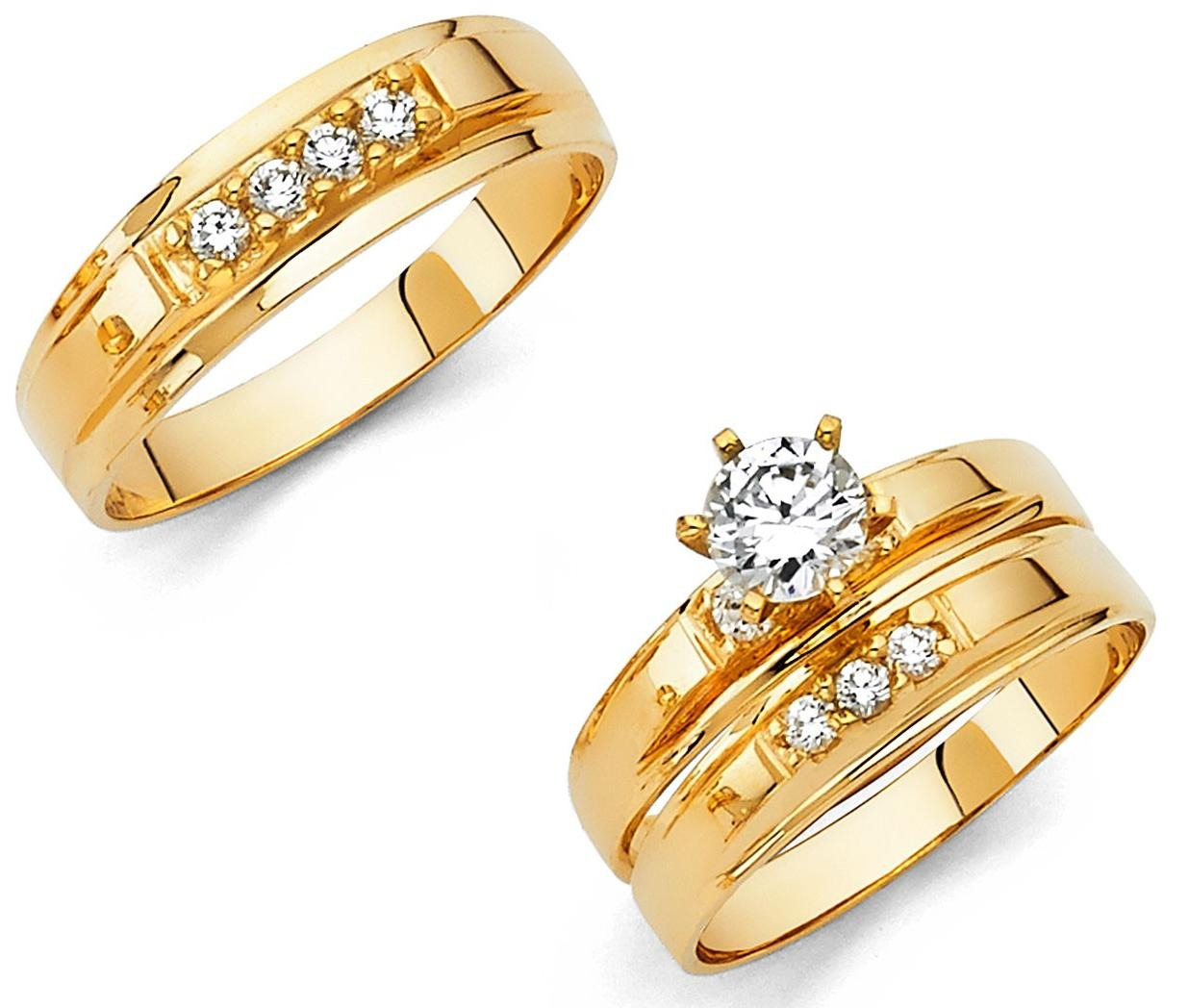 14k solid yellow italian gold wedding band bridal solitaire engagement ring set - Gold Wedding Ring Sets