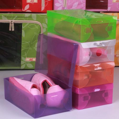 10PCS-Transparent-Clear-Plastic-Shoe-Boxes-Stackable-Storage-P299B