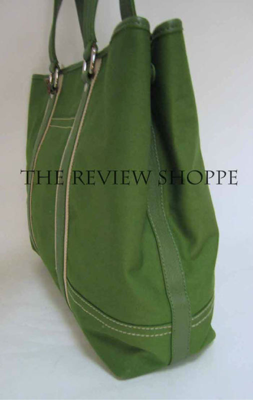 Kate Landry Canvas Tote Bag Purse XL Grass Green $79