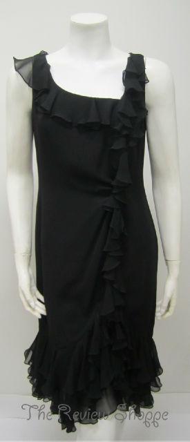 Melinda Eng 100 Silk Ruffled Cocktail Dress Black 8 Little Black Dress