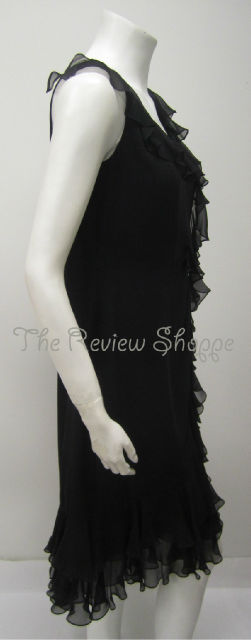 Melinda Eng 100 Silk Ruffled Cocktail Dress Black 8 Little Black Dress