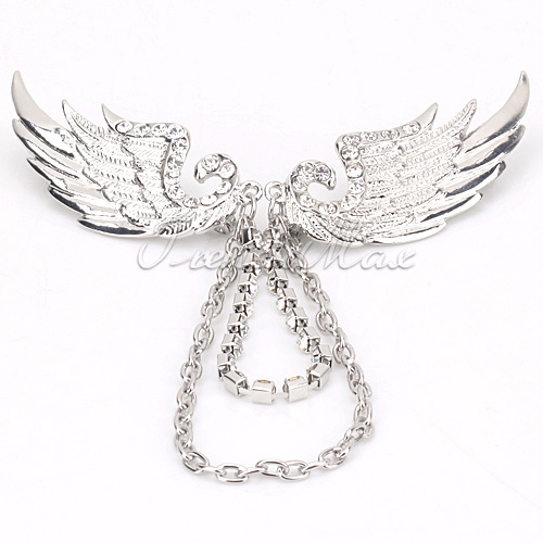 Mens Womens Crystal Two Angel Wing Pin Link Chain Brooch Pendant