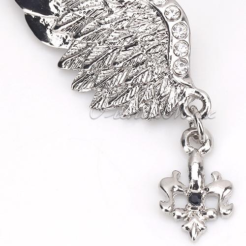 New Unisex Silver Crystal Angel Wing Men Brooch Pins Badge