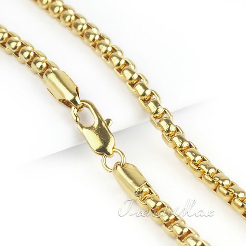 MENS Boys Box Chain 18K Yellow Gold Filled Necklace Chain Jewelry 2mm