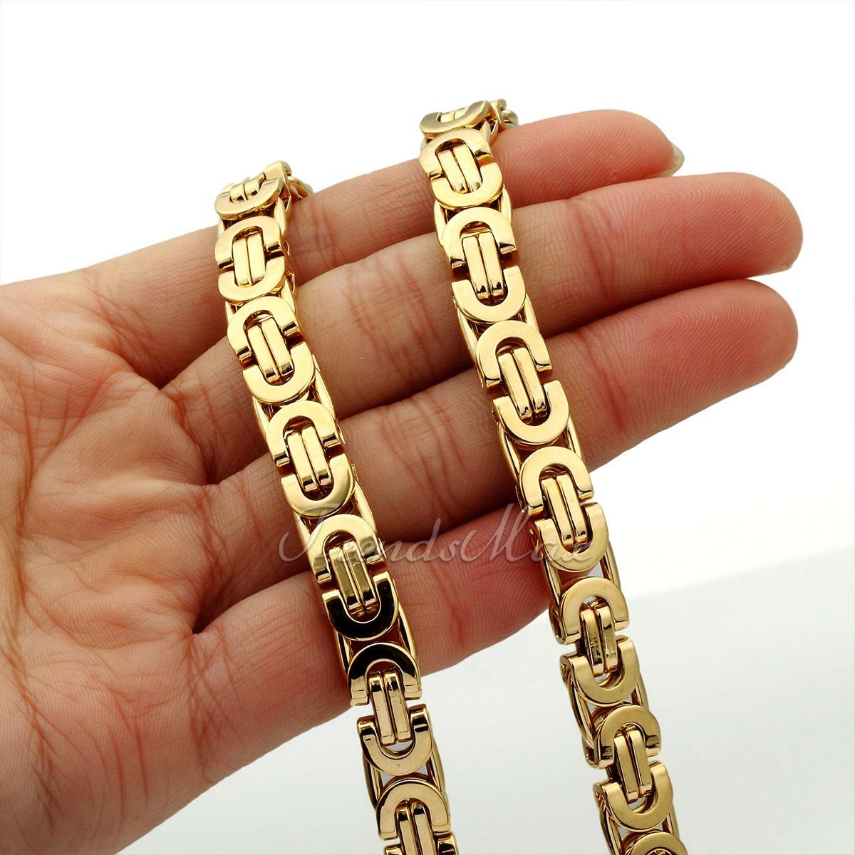6 8 11mm byzantinisch herren k nigskette panzerkette gold. Black Bedroom Furniture Sets. Home Design Ideas