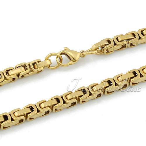 5mm-Mens-Gold-Tone-Byzantine-316L-Stainless-Steel-Necklace-Chain-KN90