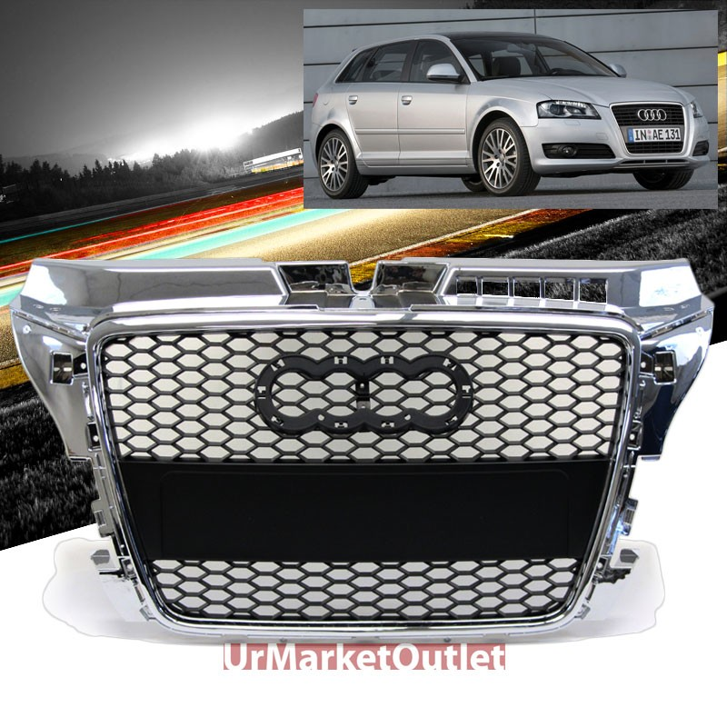 front black mesh chrome edge rs style grille for audi a3. Black Bedroom Furniture Sets. Home Design Ideas