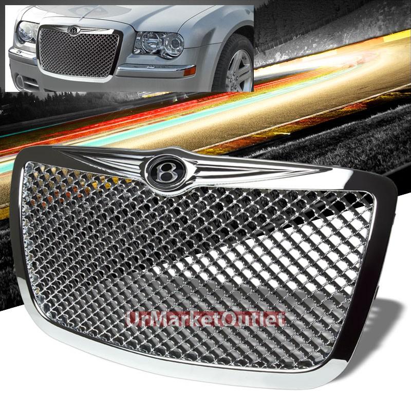 Front Chrome Bentley Style Hood Grille+B Logo Emblem For