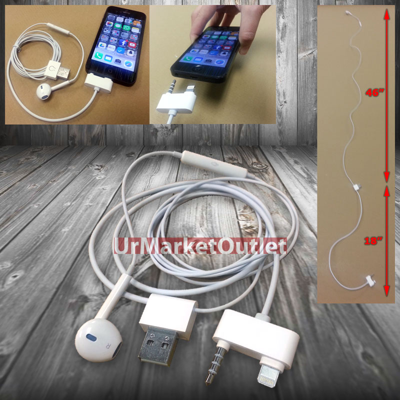 5c Control Cable : In white charging headset handfree data sync mic usb
