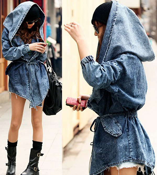 Fashion Women&amp039s Lady Denim Trench Coat Hoodie Outerwear Jean